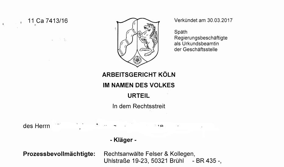 Arbeitsgericht Köln Kündigungsfrist § 11 MTV Chemie