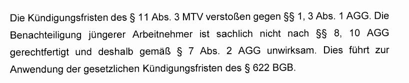 Kündigungsfrist MTV Chemie