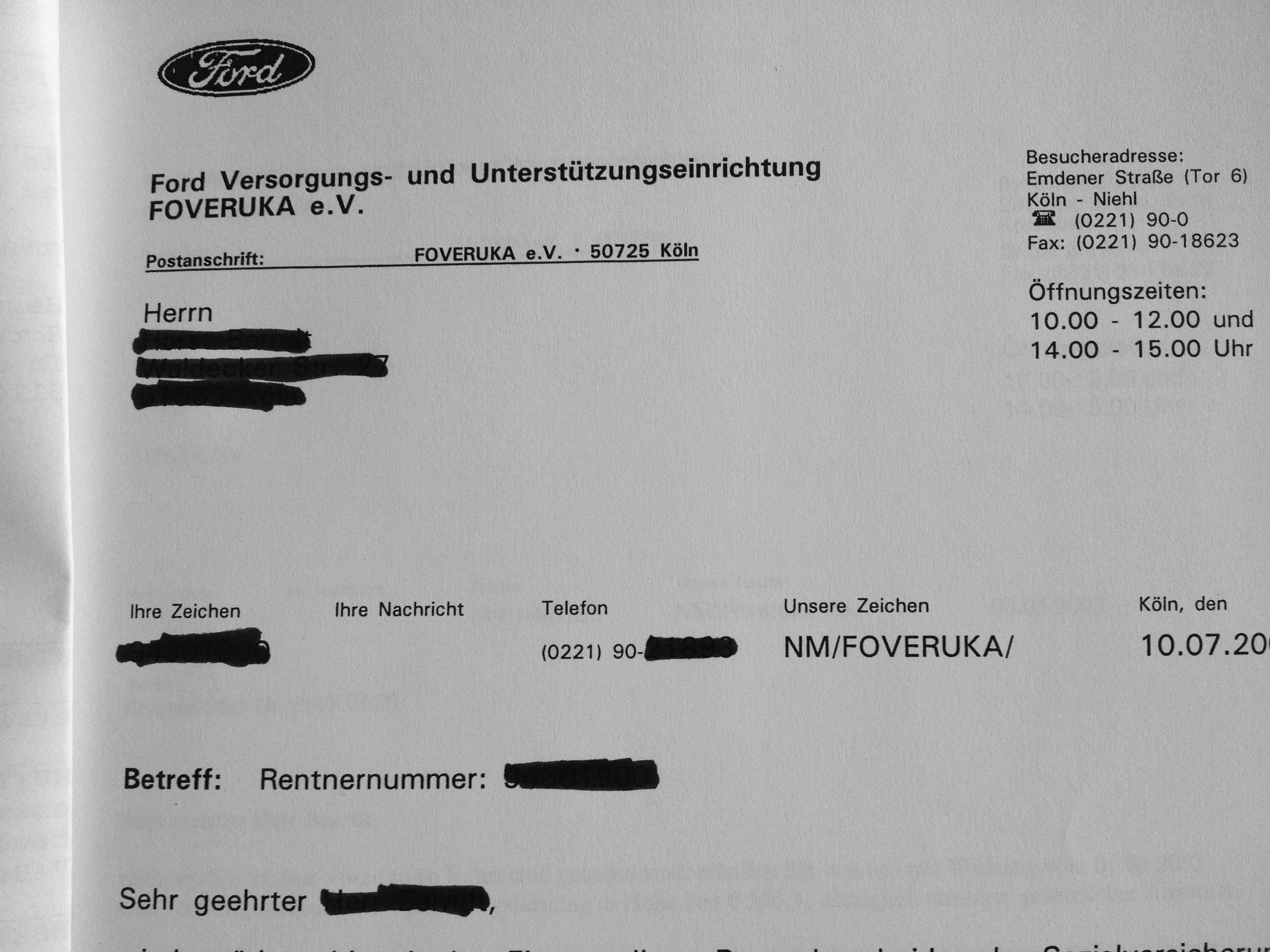 Foveruka Köln Anschrift (Ford Betriebsrente)