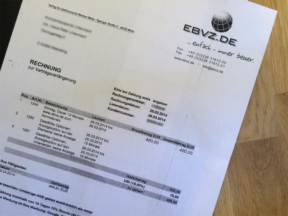 EBVZ.de – Erfolg gegen Verlag für elektronische Medien Melle