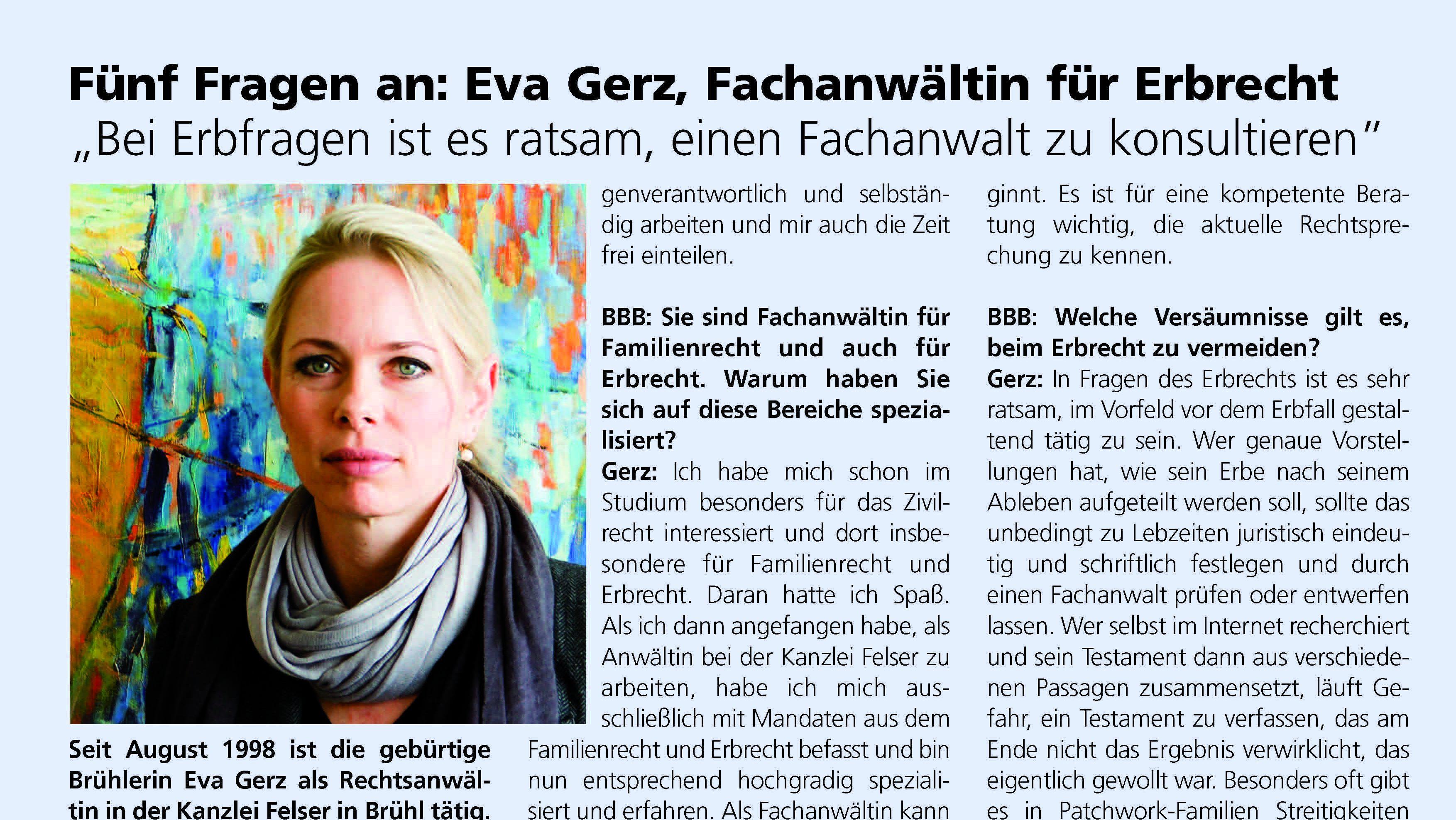 Erbrecht – Fünf Fragen an: Eva Gerz, Fachanwältin für Erbrecht