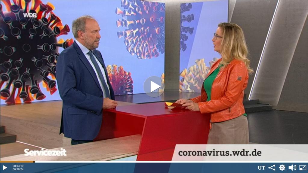 Rechtsanwalt Felser als Studiogast in der WDR Serviczeit. Sichere Beratung trotz Pandemie (Coronavirus)